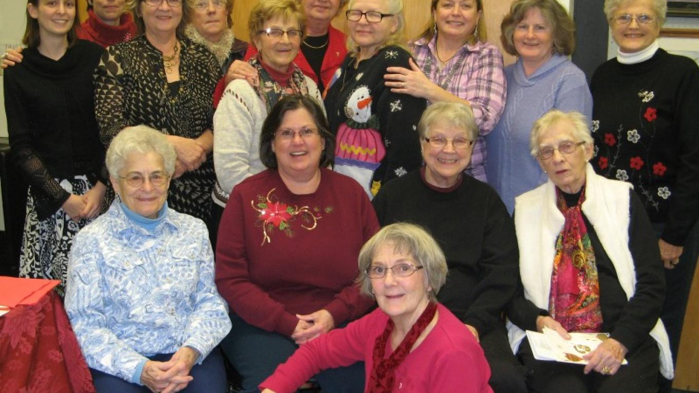 some of the members of the Northland Art Society at their annual Christmas potluck meeting