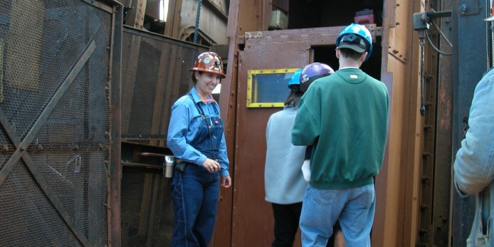 Entering the mine shaft that will take visitors down 2,341 feet. – MN DNR