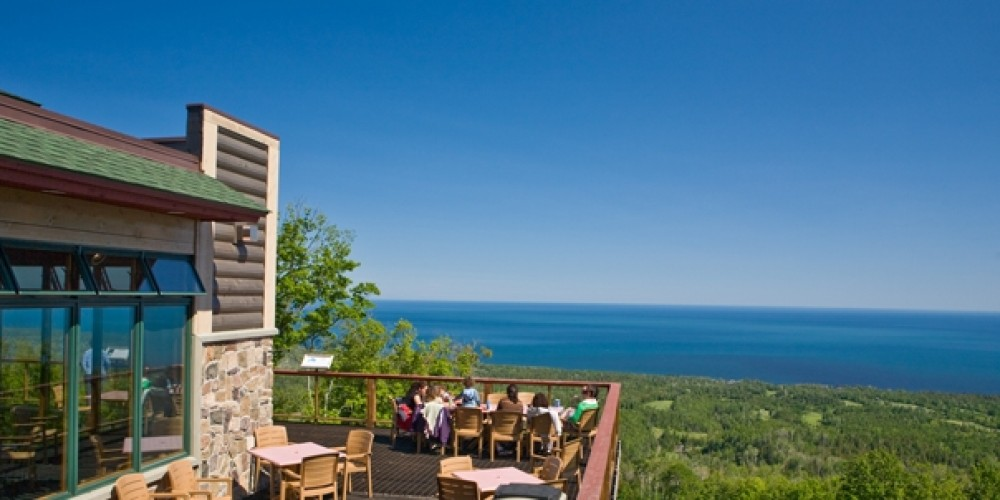 The Summit Chalet is at the end of the Mountain Tram. Enjoy the northwoods chalet eatery and expansive deck overlooking Lake Superior