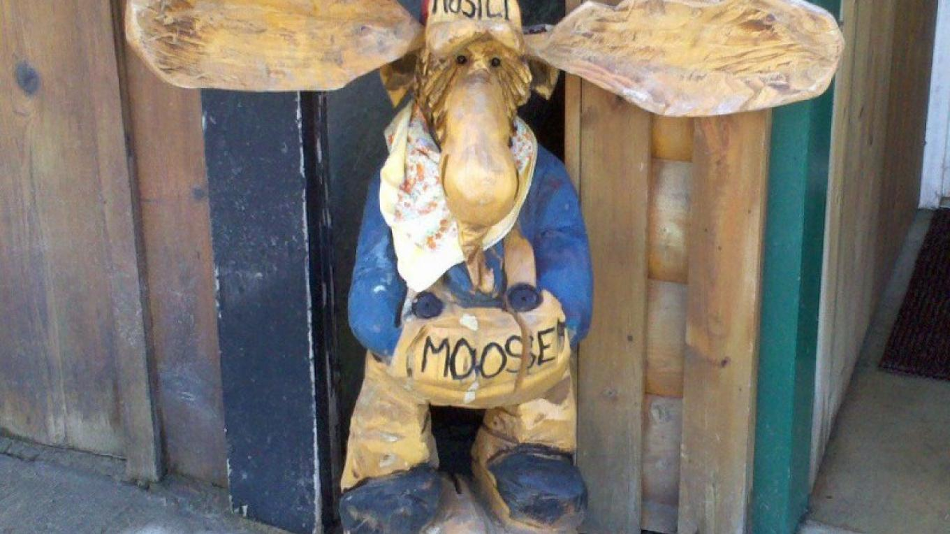 Petey is at the front door & greets everyone at Mostly Moose & More! – Lori Zembal