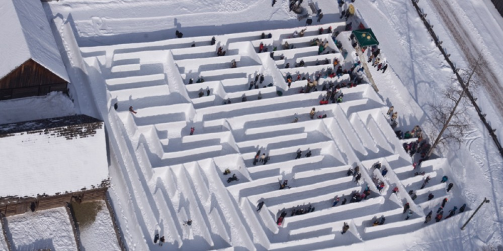 Explore the Guinness Book of World Records' Largest Snow Maze at the Voyageur Winter Carnival – Fort William Historical Park