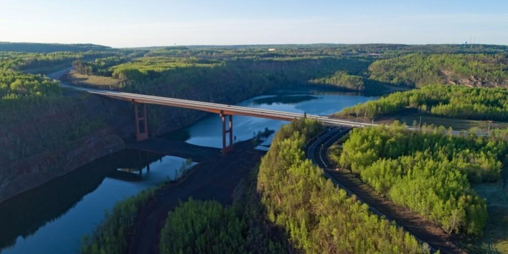 Mesabi Trail bike trail - crossing the tallest bridge in Minnesota in Virginia. – IRTB