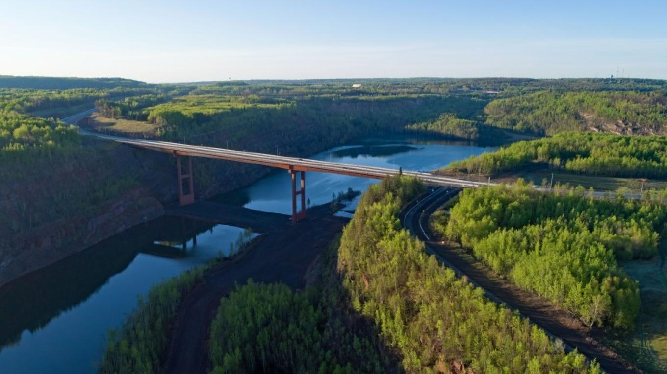 Mesabi Trail bike trail - crossing the tallest bridge in Minnesota in Virginia. – IRTB