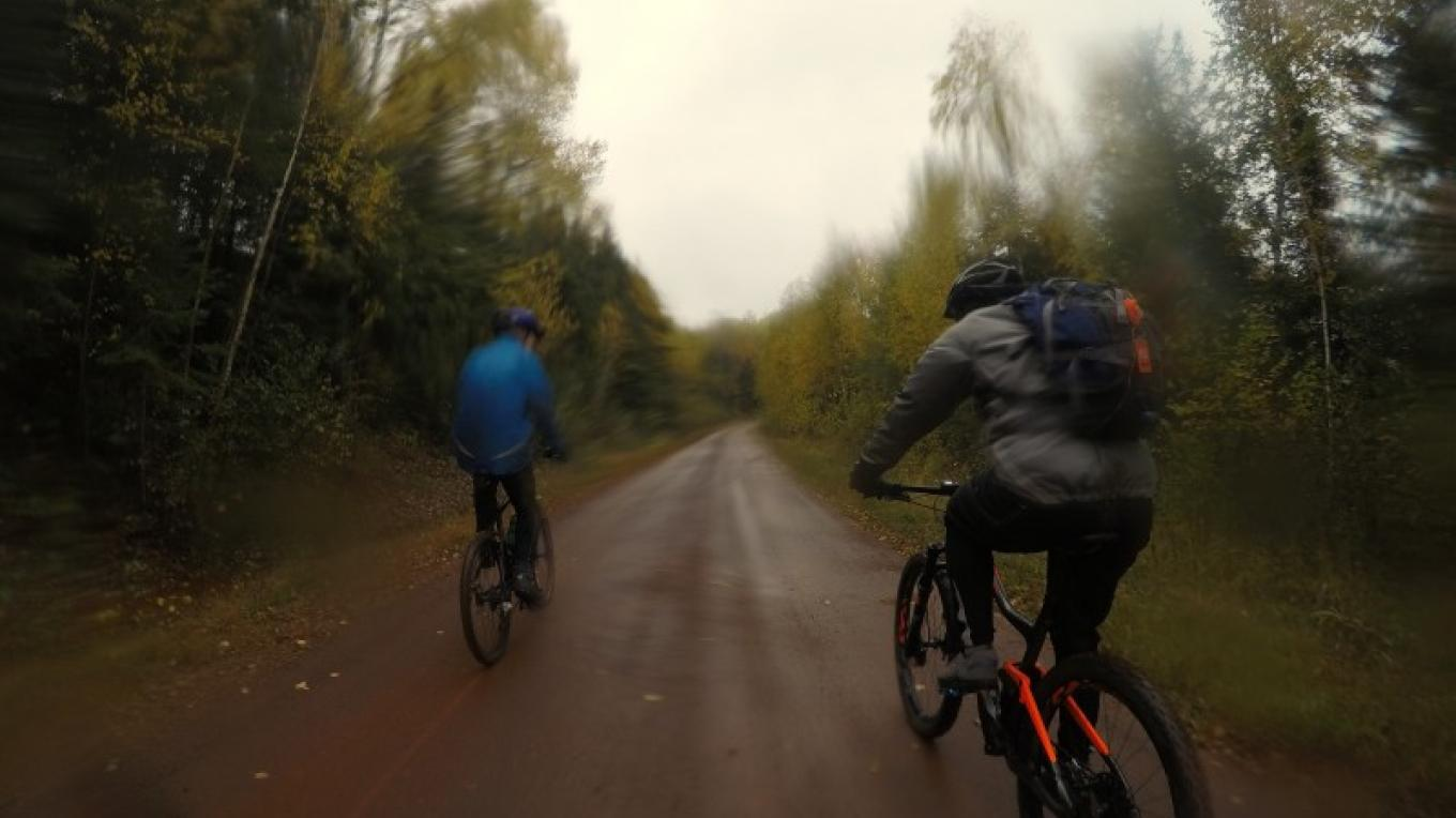 2019 ride was wet and cool out but the fall trees along with the red iron ore roads were colourful and the ride was fun – C Stromberg