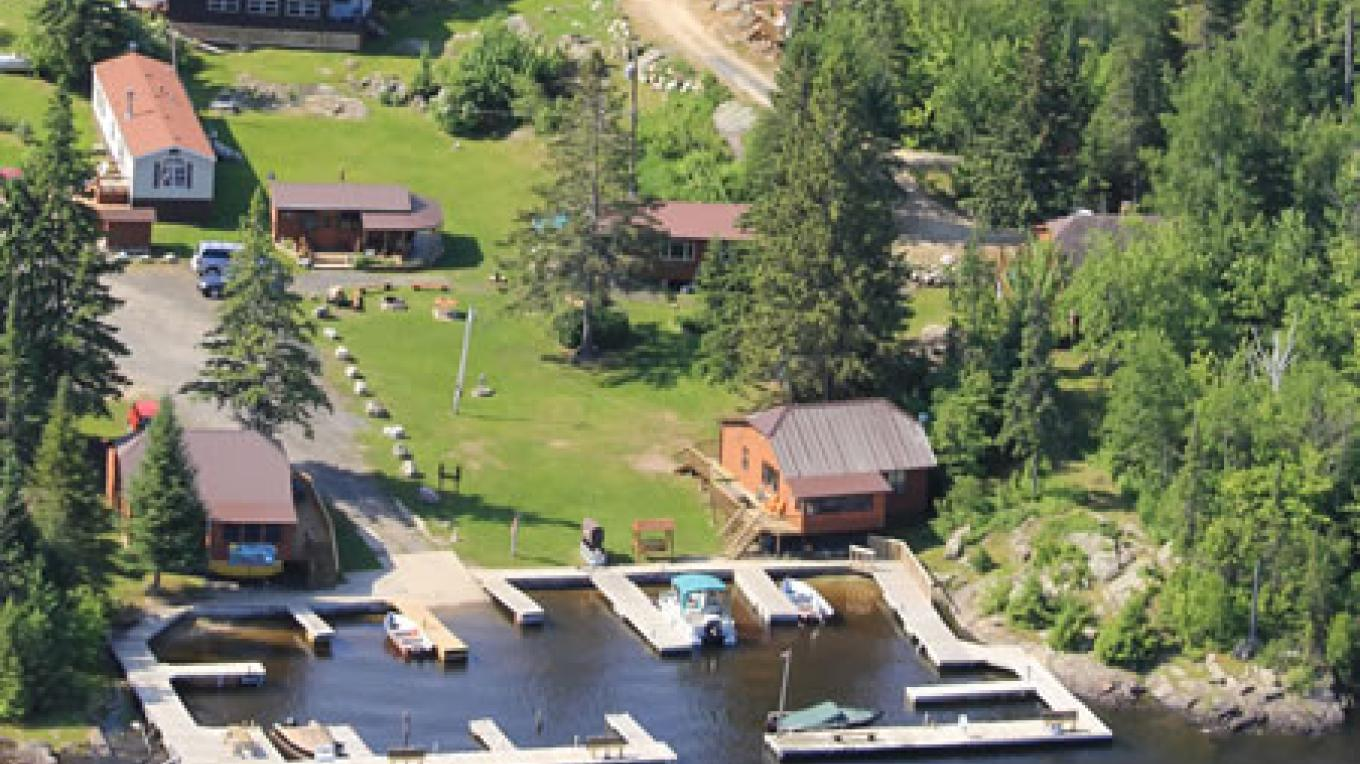 Aerial View of dock and cabins