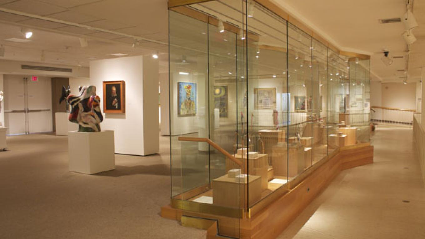 View of the Display Case which features American Indian Art objects from the Richard E. and Dorothy Rawlings Nelson Collection. – Photo by Tweed Museum of Art