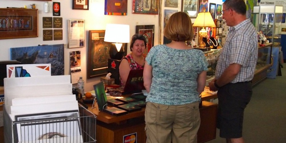 Owner Louise Thomas talks to customers. – Duncan Weller