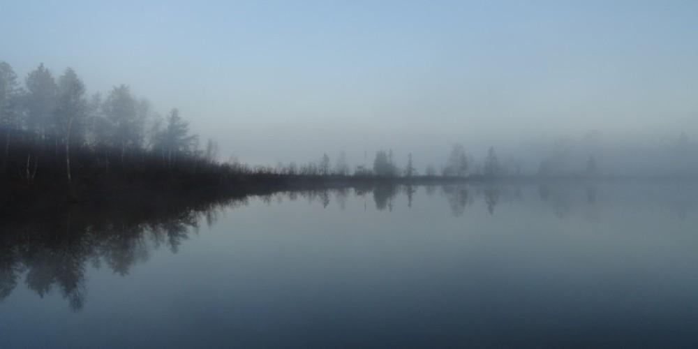 Fall Sunrise with Fog on Bear Island Lake – Marie Vogt