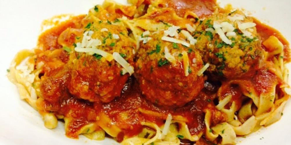 Meatballs and Sauce on Tagliatelle – K Pizzolato