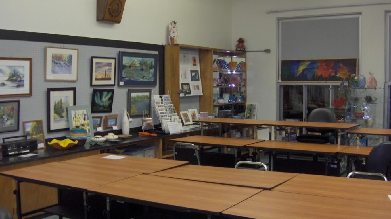 part of the work and display space in the Northland Art Room of the Backus Community Center