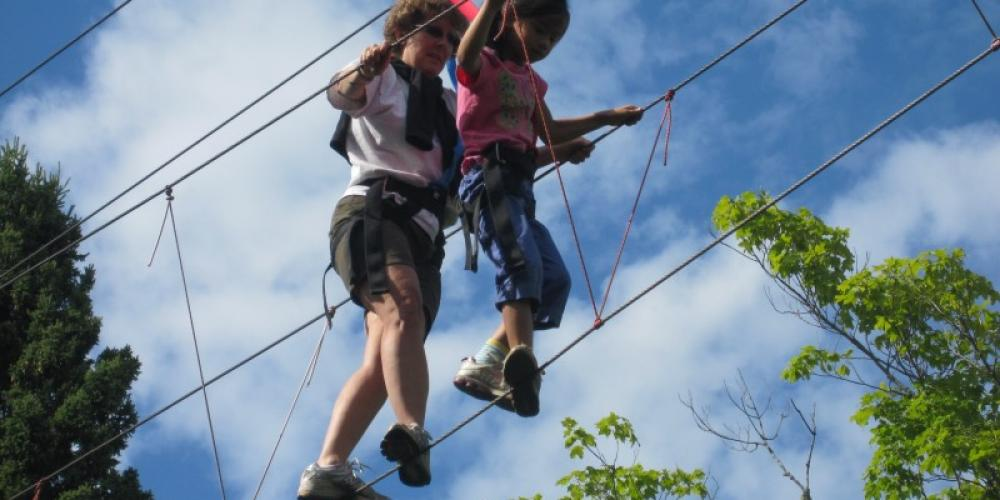 CHoose your adventure as you travel through our high ropes course. – Wolf Ridge Environmental Learning Center