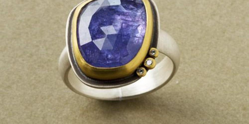 Tanzanite Ring with Diamonds – Ananda Khalsa