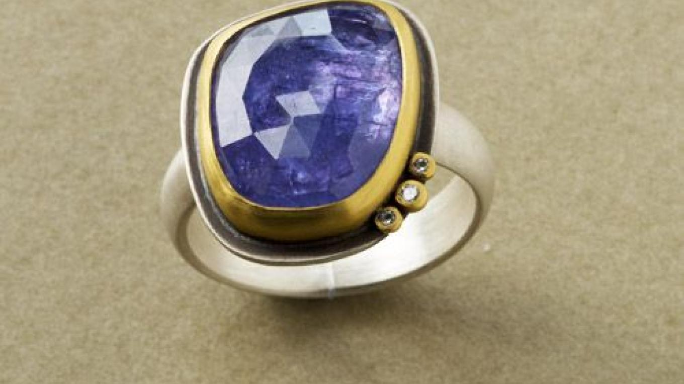 Tanzanite Ring with Diamonds – Ananda Khalsa