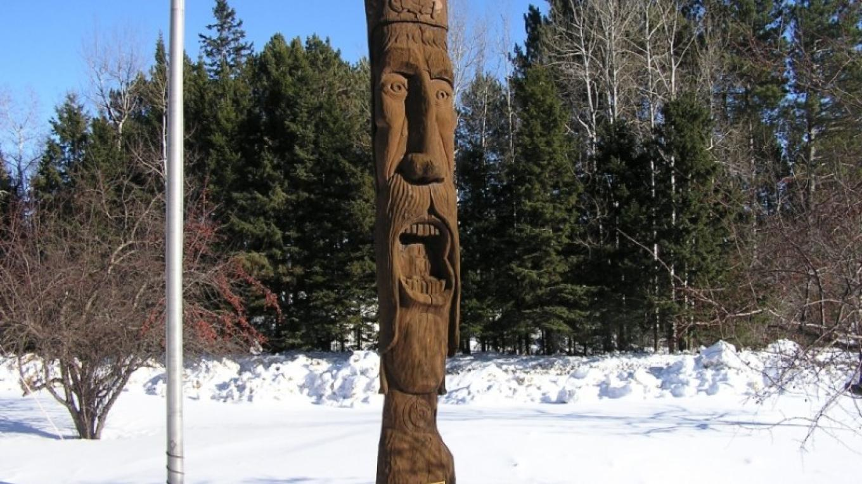 "The Statue of Saint Urho in Finland, MN. St Urho says ""Grasshopper, Grasshopper, go away"" – Dan Kraker, MPR"