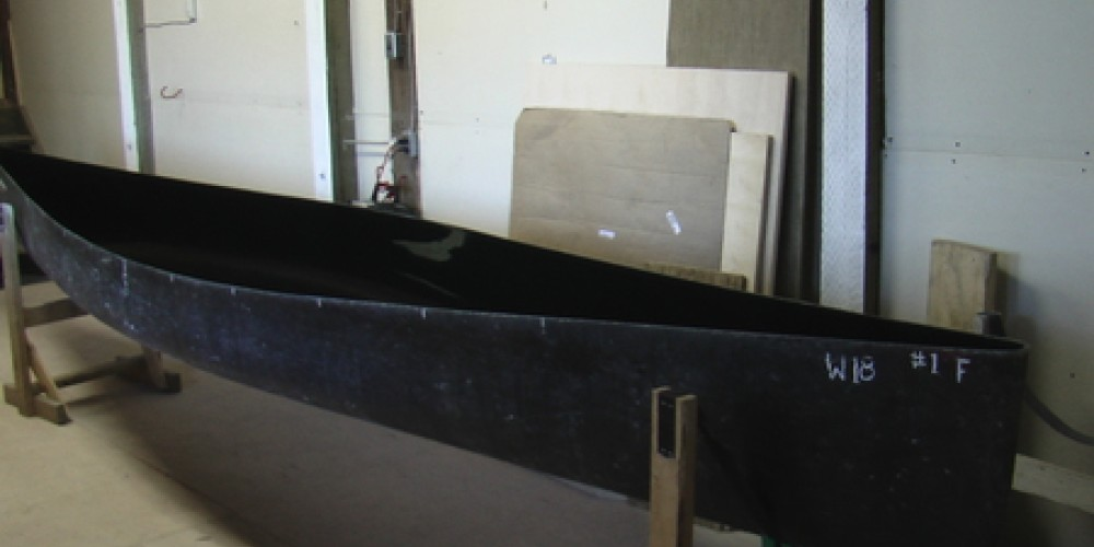 Empty canoe mold used to craft each custom canoe. – Seth Wotten - Water for Future Generations