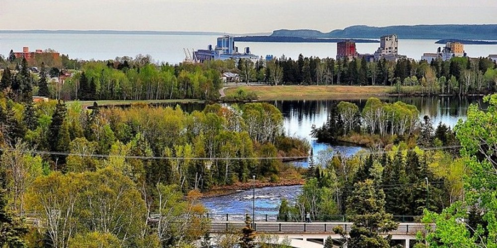 The Bluffs at Boulevard Lake in city limits over looking Lake Superior with elevators on the waterfront. – Mark McCullough