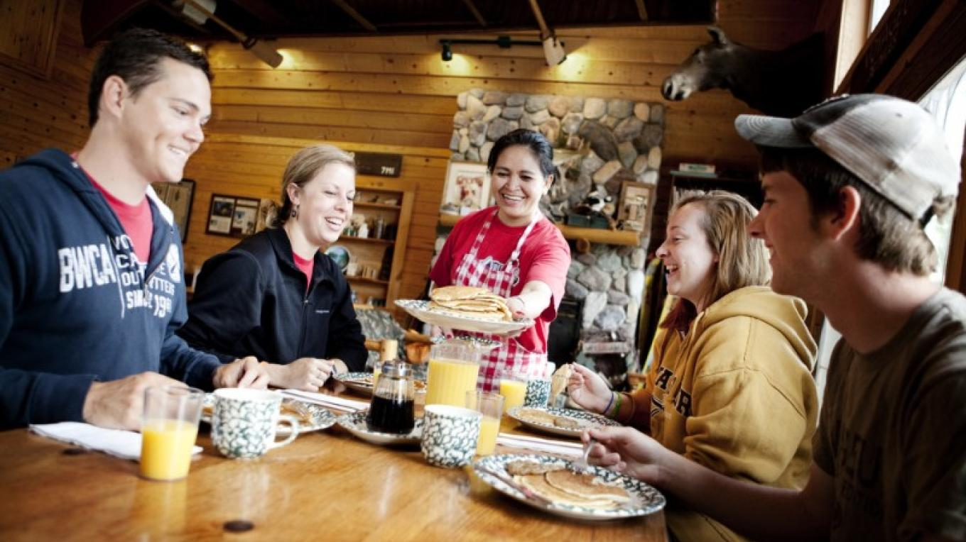 Enjoying breakfast at Voyageur Canoe Outfitters – Voyageur Canoe Outfitters