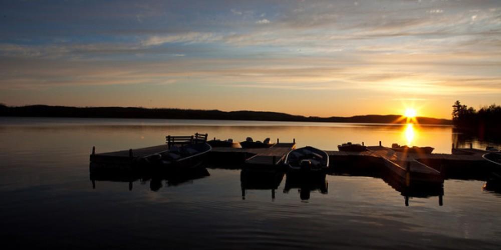 Boats at the dock - Gunflint Lake – Gunflint Trail Association