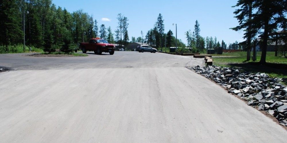 looking toward the parking area from the ramp at the launch. – international falls, rainy lake and ranier CVB
