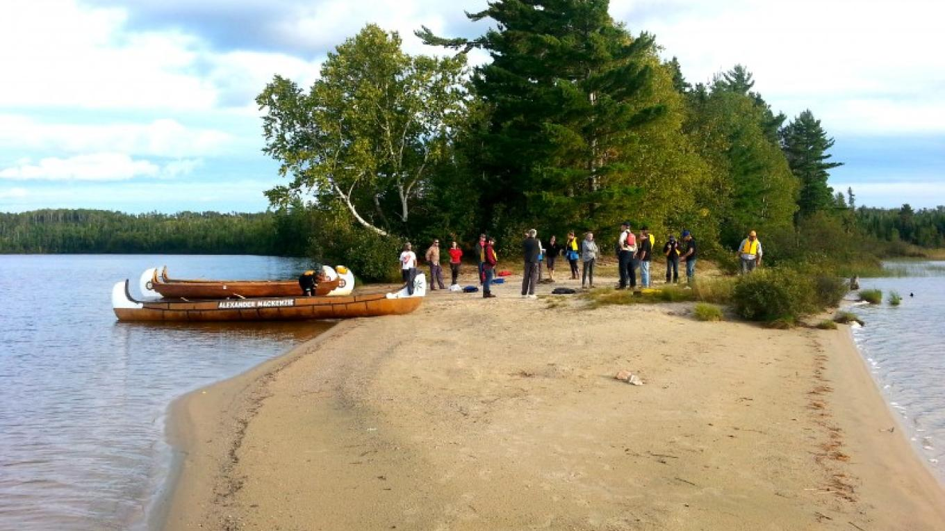 Lakehead University Research team at Pickerel Lake sand-spit, a short paddle from the Campground – C.Stromberg