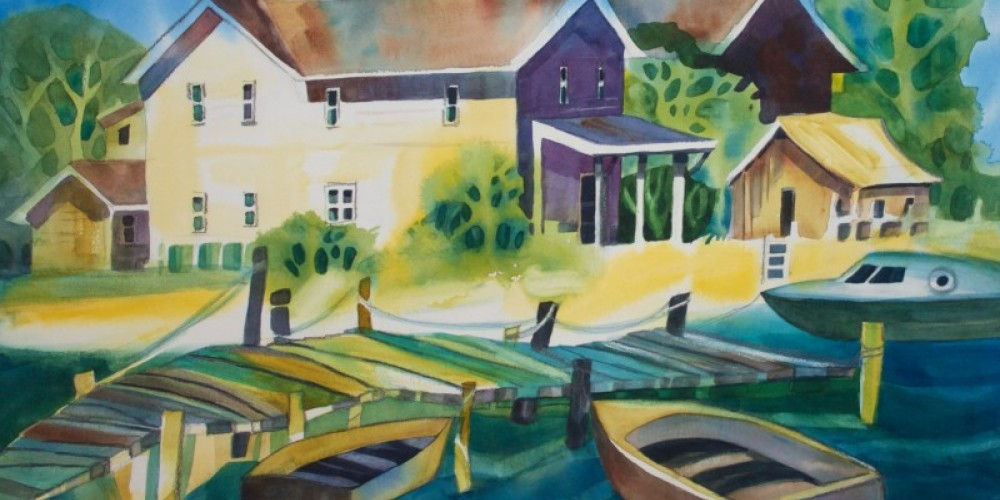 """""""Village Harbor"""", put together to include to wonky charm of a lakeside dock, boats, and collection of buildings."""