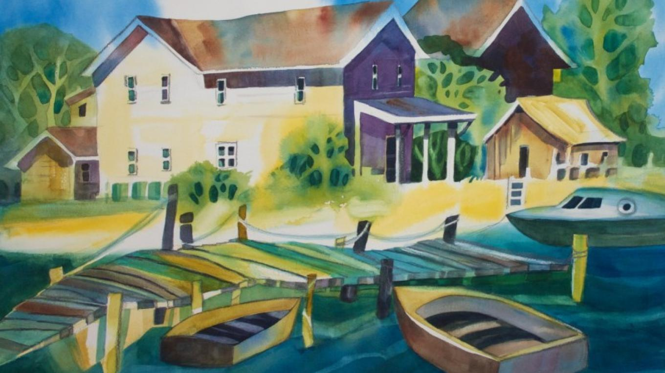 """Village Harbor"", put together to include to wonky charm of a lakeside dock, boats, and collection of buildings."