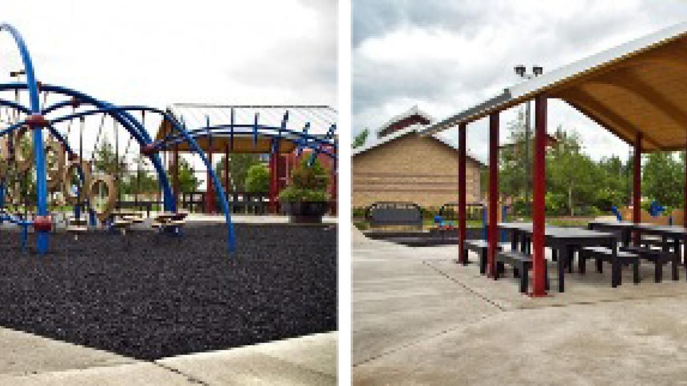 Kids can romp and play on this new state of art large playground suitable for all ages