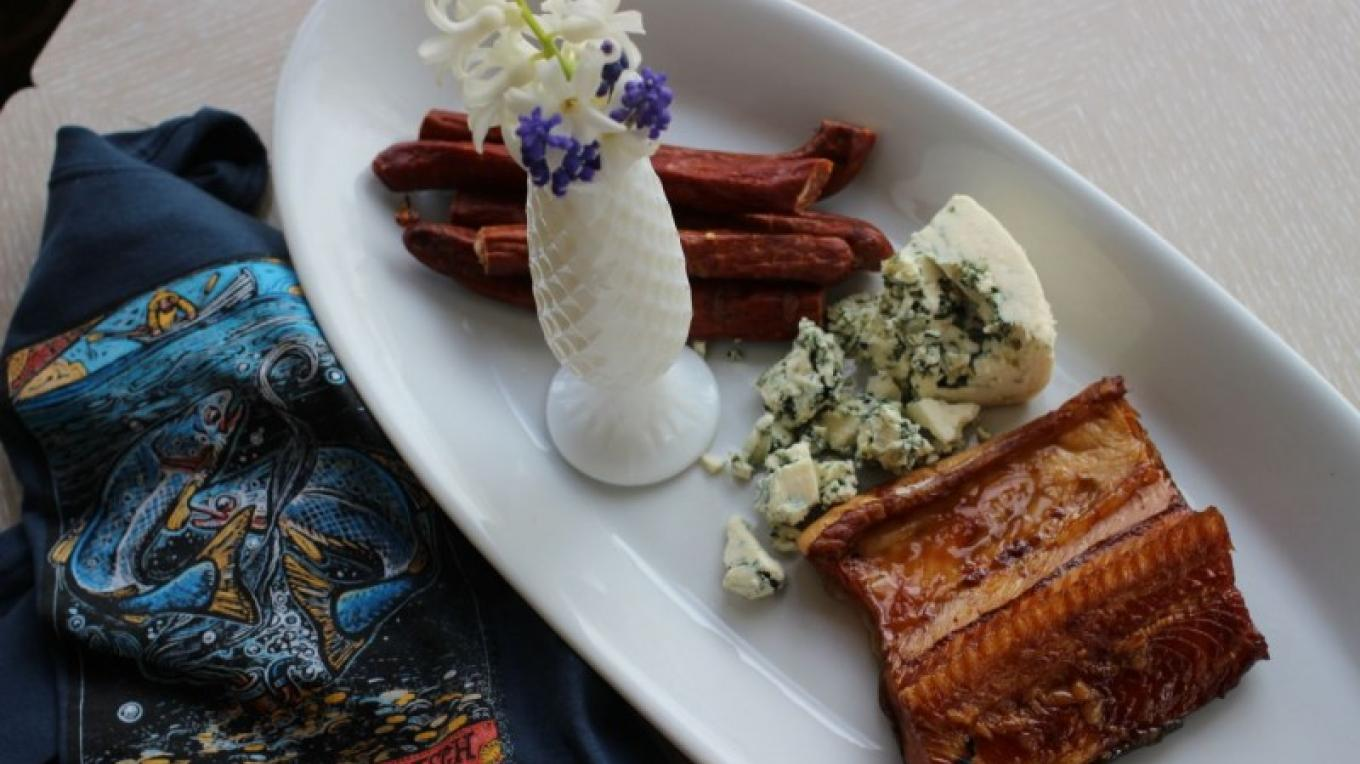 "Smoked Lake Superior Lake Trout, ""Bison Buddies,"" local blue cheese, and a Northern Waters Smokehaus T-Shirt designed by Duluth artist Rick Allen. – Mary K Tennis"