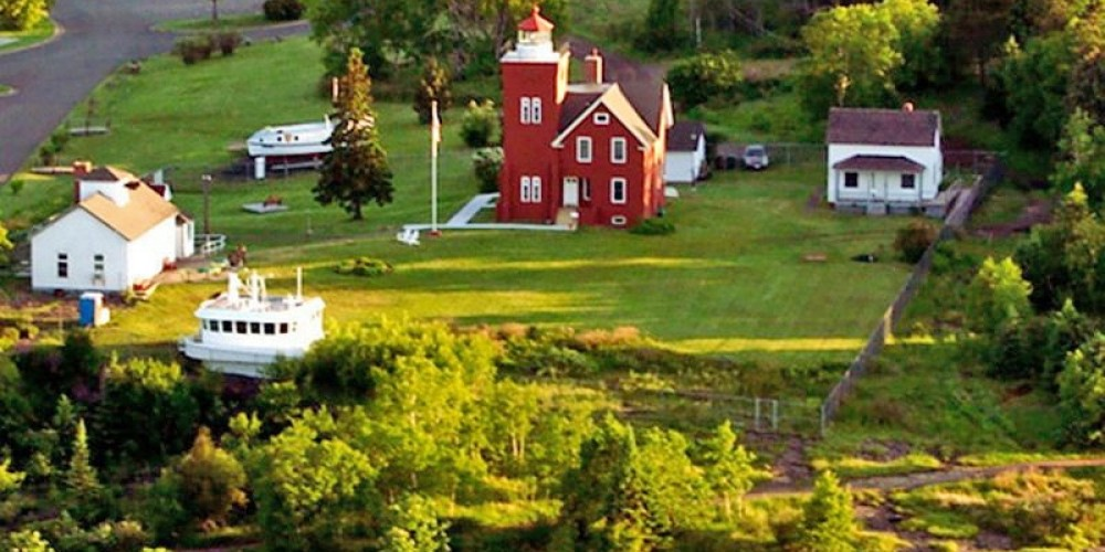 Arial view of the Light Station – Lake County Historical Society