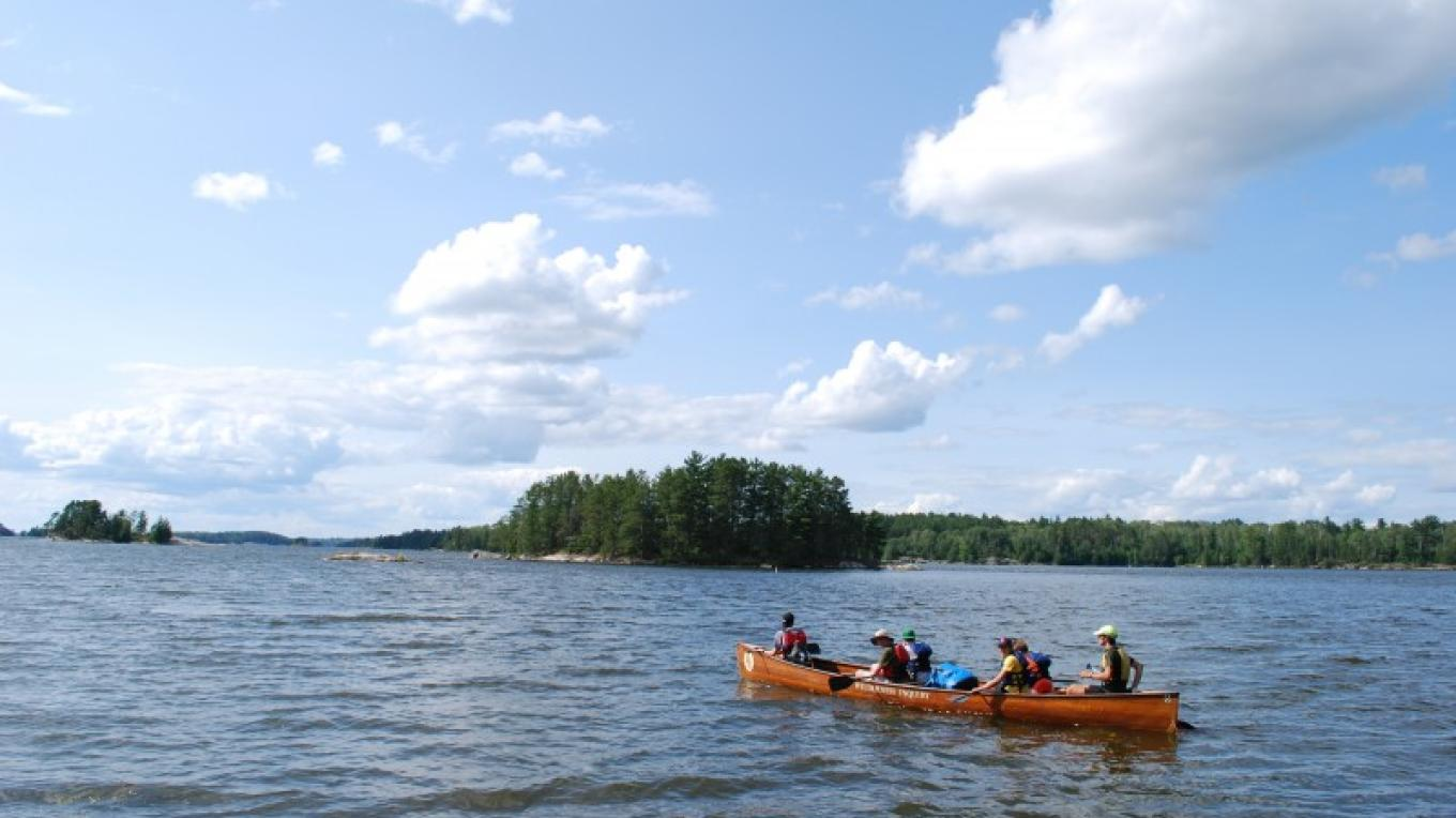 National Park Teen Ambassadors paddling on Kabetogama. – Christina Hausman
