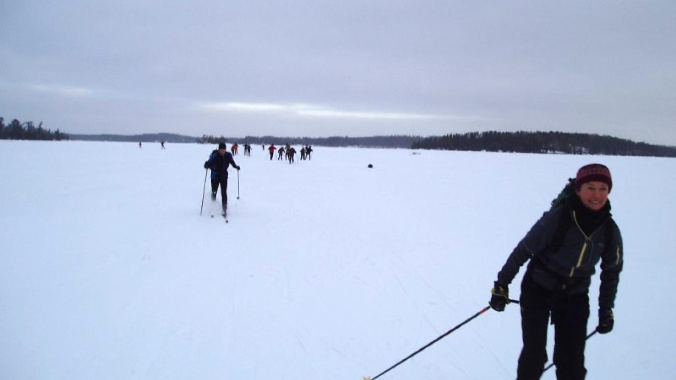 The tour usually allows for skating or classic skiing - Pickerel Lake 2008 – C Stromberg