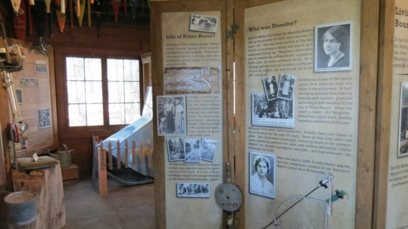 Point Cabin exhibit on Dorothy's life at the Dorothy Molter Museum.