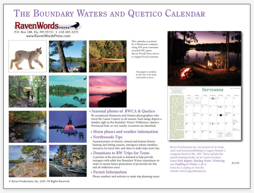 2021 Calendar (back)