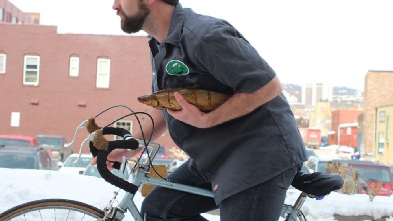 Northern Waters Smokehaus features delivery by bike. – Mary K Tennis