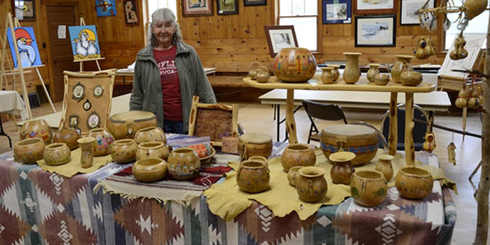 Susan Zimmerman of Sandstone, MN with your Gourds