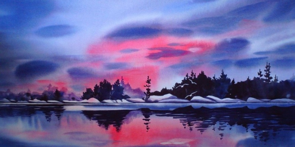 """""""Passionate Sky"""", painted in early spring with lingering lake ice."""