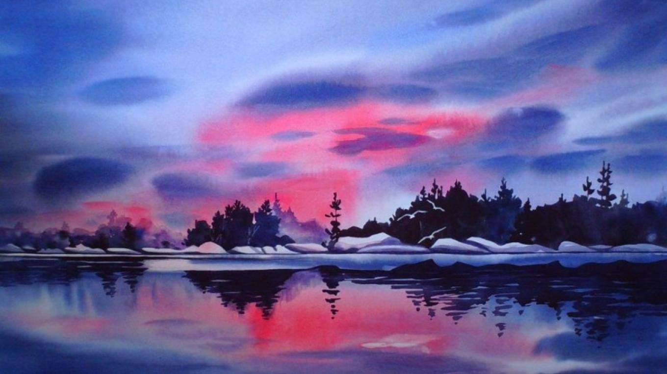 """Passionate Sky"", painted in early spring with lingering lake ice."
