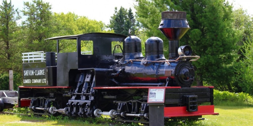 Shevlin-Clark logging locomotive, last used at West Clearwater Lake. The engine-style inventor was Ephriam Shay of Michigan, built mid 1870s to negotiate steep grades and sharp curves. – Lynx Photography (Doug Strom)