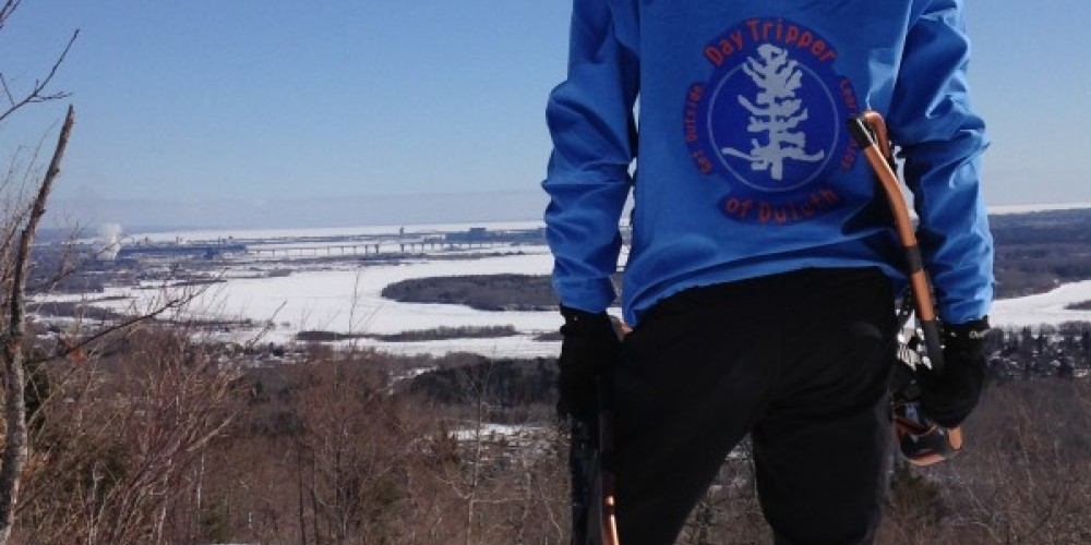 Co-owner/Head Guide Matti Erpestad overlooking Duluth's St. Louis River Estuary from local Superior Hiking Trail – Kaitlin Erpestad