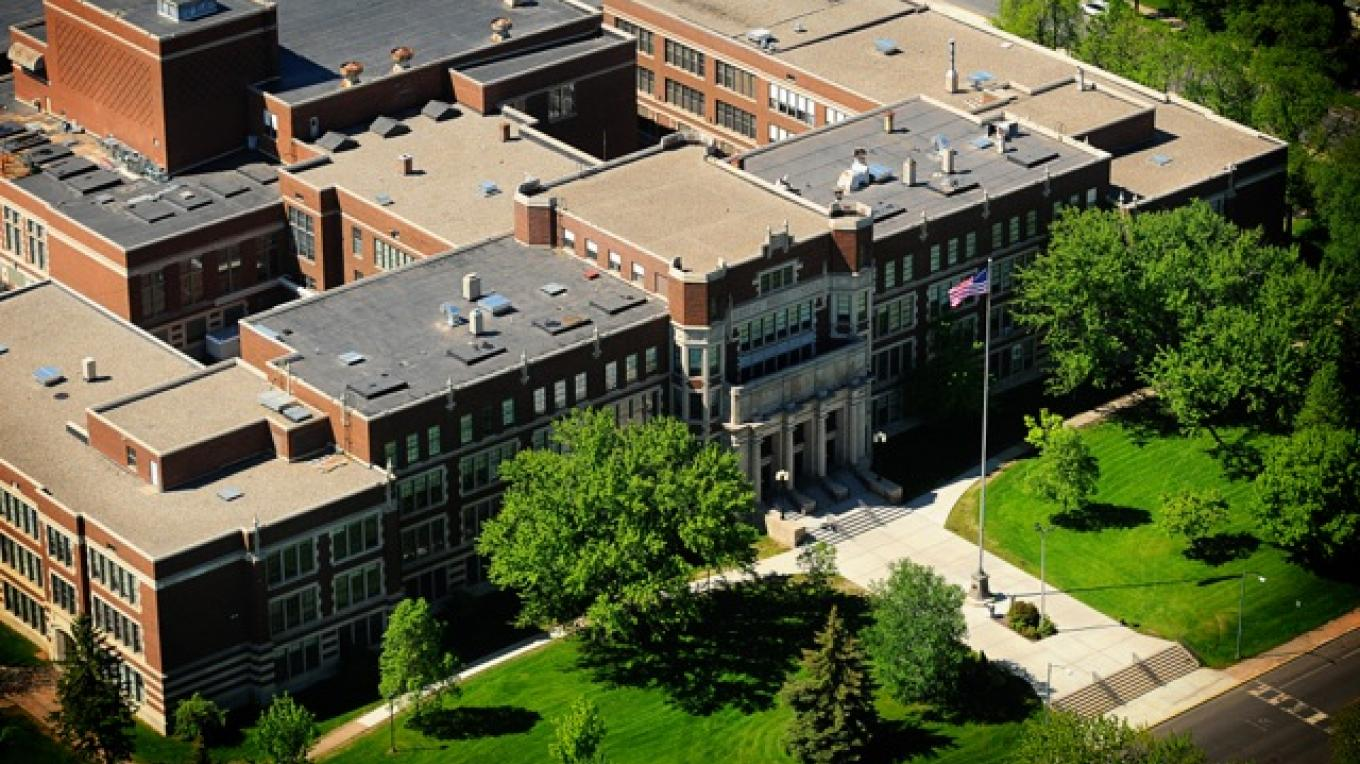Aerial view of Historic Hibbing High School. – Lisa Dolinich