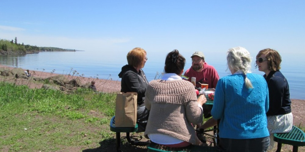 The Great Place Race grant money helped fund these great tables.Co-op customers enjoying lunch on the shore of Lake Superior, our backyard! – J. Levene
