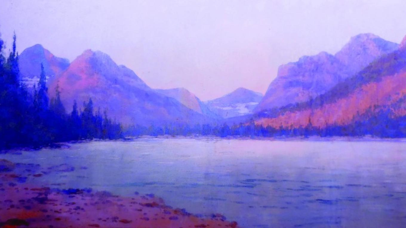 "Lake McDonald Area 51"" x 90"" Artist unknown Tempera on Canvas Restoration by Joe Abbrescia, Jr. (installed January 12, 2016 at the O'Shaughnessy Center in Whitefish, MT) – Hockaday Museum of Art"