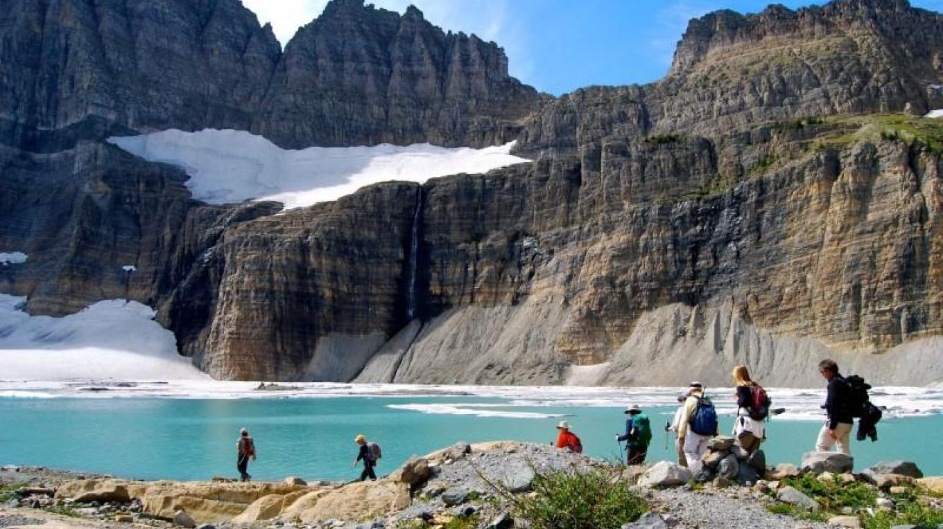 Hiking to Grinnell Glacier in the Many Glacier valley.- Glacier Guides & Montana Raft