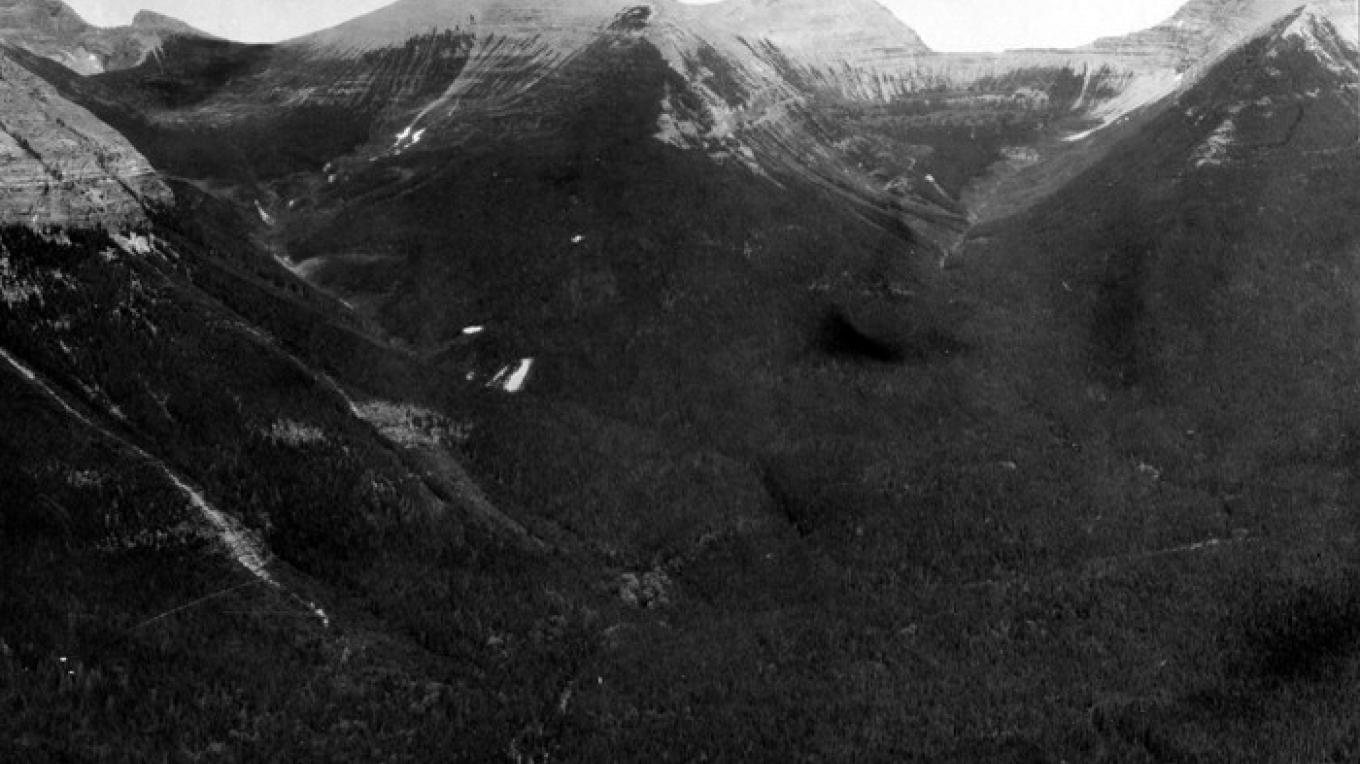 This 1914 photo captures Triple Divide Peak in the center of the frame. – E.C. Stebinger