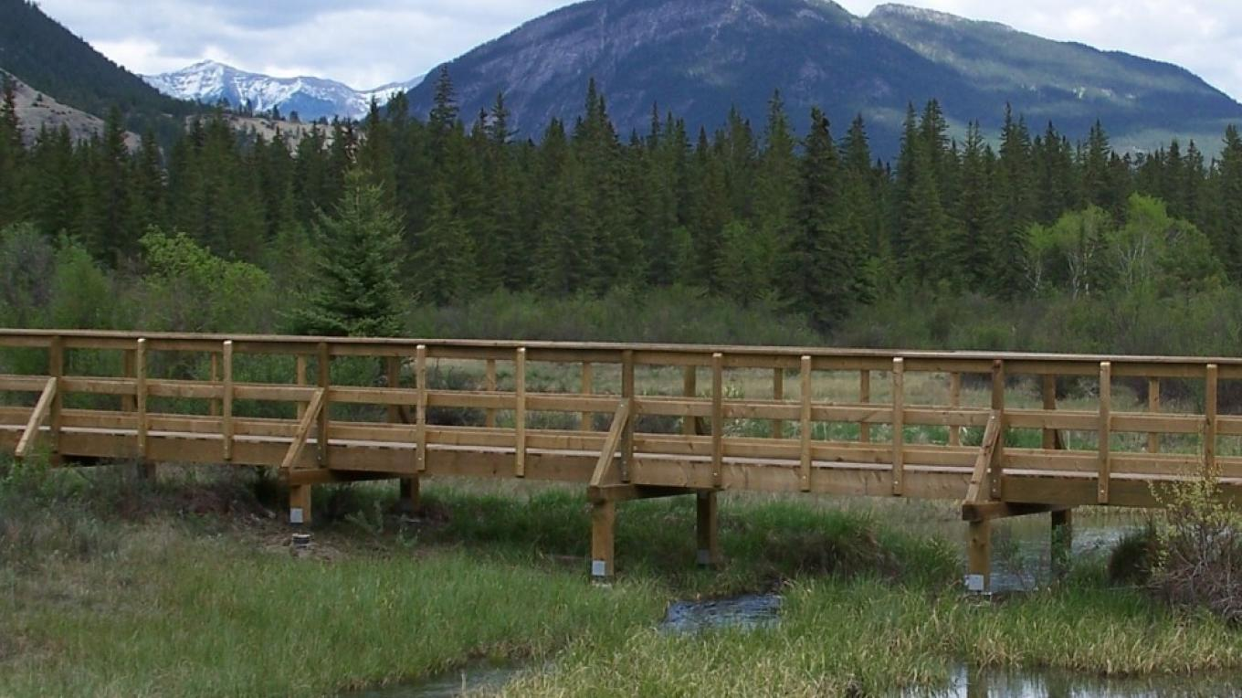 An elevated boardwalk crosses the headwaters of the Columbia River – Nick Berzins