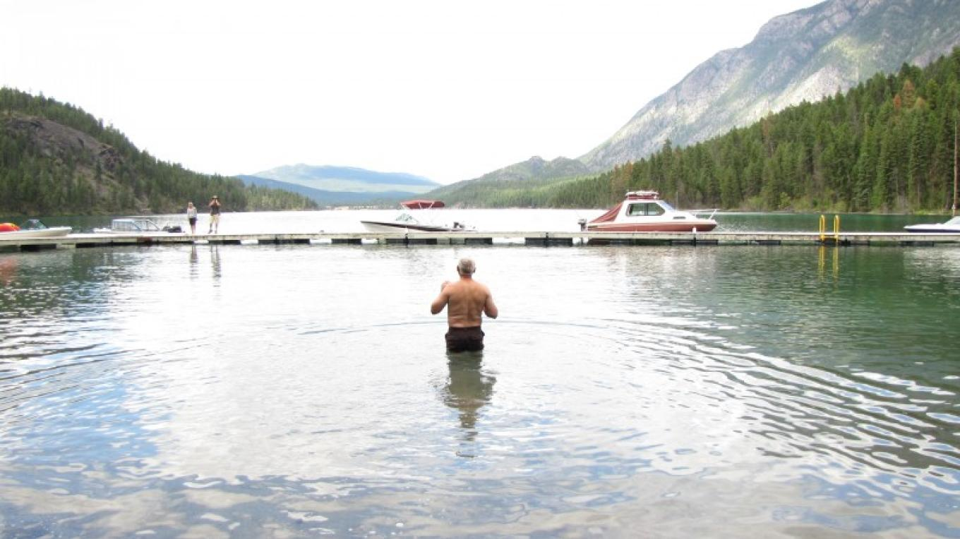 Enjoying a cool swim in the clear blue waters of Premier Lake. – Sheena Pate