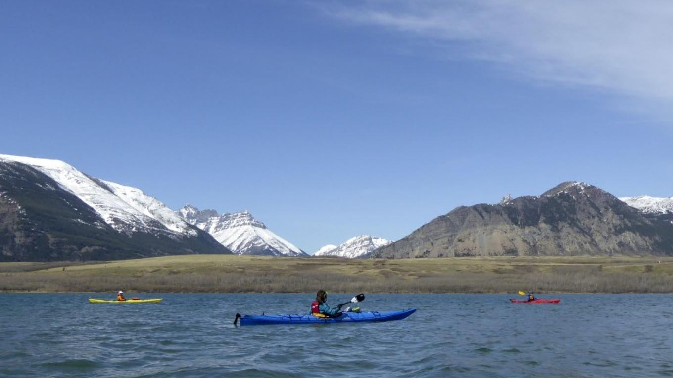 Kayakers on Lower Waterton Lake