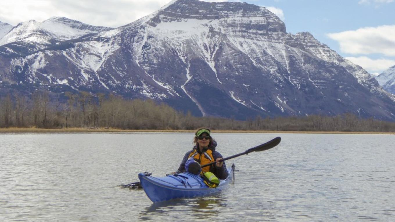 Kayaker on Upper Waterton Lake – Courtesy Parks Canada