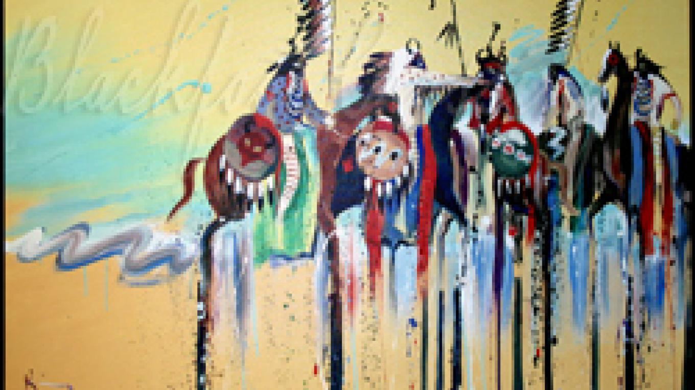 Border Dispute, artwork by Bruce King is available at the gift shop – Bruce King, courtesy Blackfoot Crossing