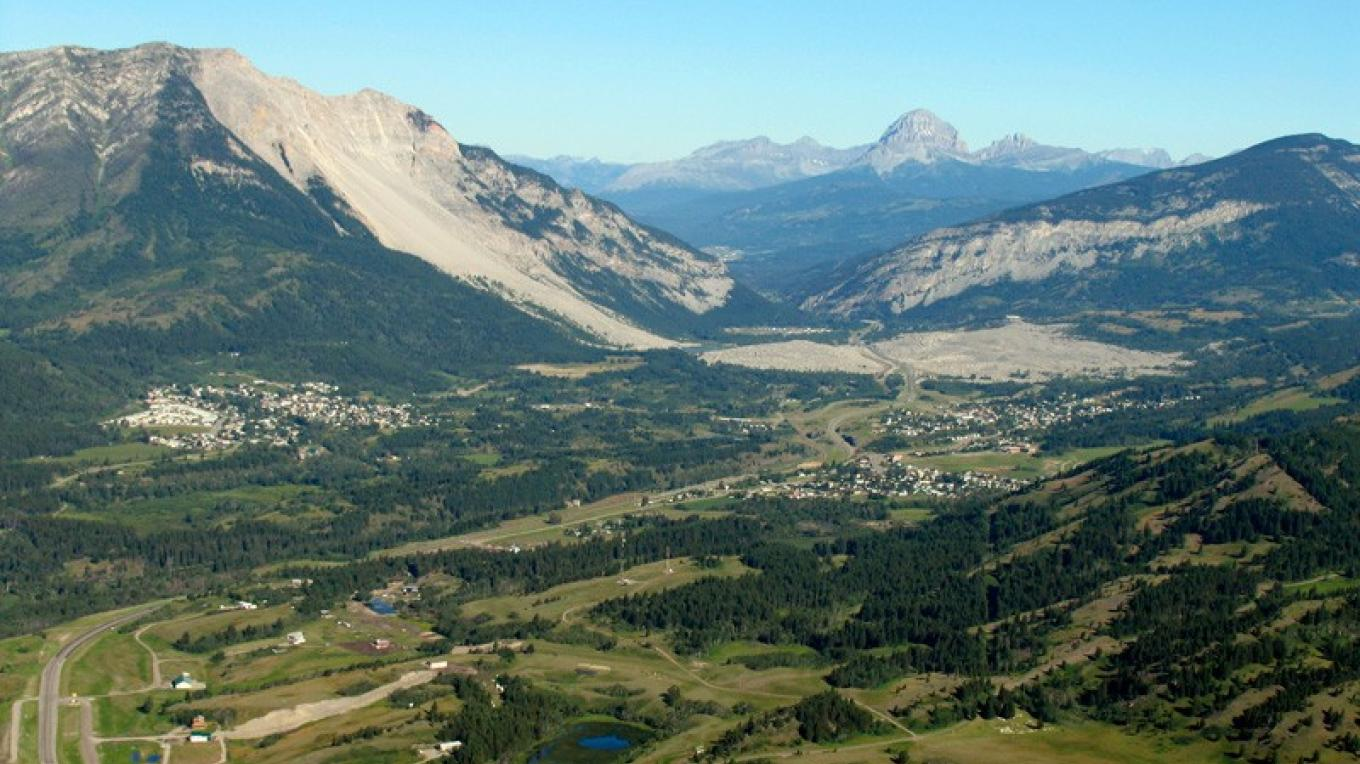 The northeast face of Turtle Mountain split away and slid across Crowsnest Valley. – David Thomas
